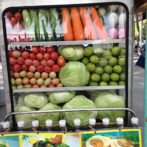 Bang saen vegetables and fruit in cabinet