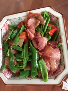 China food bacon and peppers